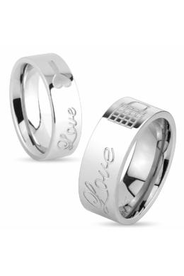 8 mm - Ezüst színű -Love- feliratú nemesacél gyűrű ékszer