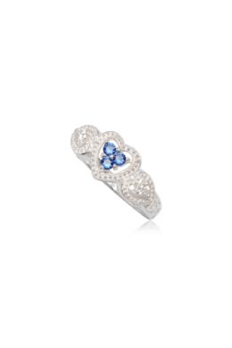 Szív alakú ezüst gyűrű sötét kék cirkónia kristállyal-6
