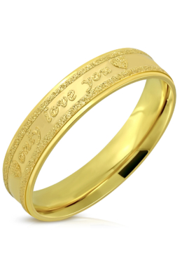 """Arany színű nemesacél gyűrű, """"only love you"""" felirattal -6"""