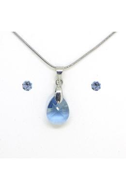 Swarovski kristályos ékszerszett - Pear 12 mm, Denim Blue + díszdoboz
