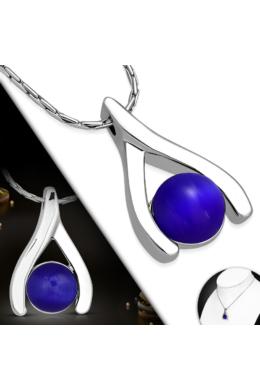 nefelejts - Ezüst színű nyaklánc, sötétkék cirkónia kristályos medállal