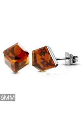 Cirkónia kristályos, kocka alakú nemesacél fülbevaló ékszer