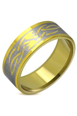 Arany színű, nonfiguratív nemesacél gyűrű ékszer-6