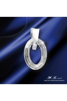 H. L. Jewel Swarovski® kristályos ezüst medál - Ovális Crystal