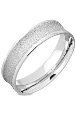 Ezüst színű, homokfúvott nemesacél gyűrű ékszer-10
