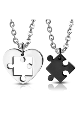 Puzzle - Ezüst-fekete szív alakú páros nemesacél medál