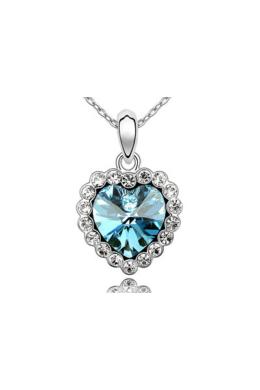 Swarovski kristályos nyaklánc kék köves szívvel