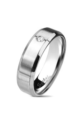 Ezüst színű, matt felületű nemesacél gyűrű, cirkónia kristállyal-11