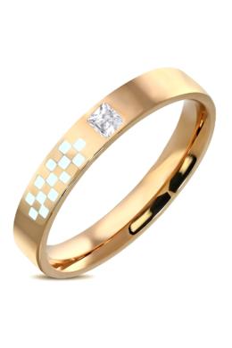 Rózsa arany színű nemesacél gyűrű, cirkónia kristállyal-8