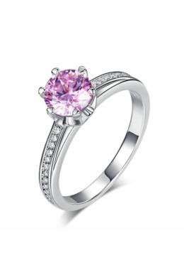 Ezüst gyűrű rózsaszín kristállyal