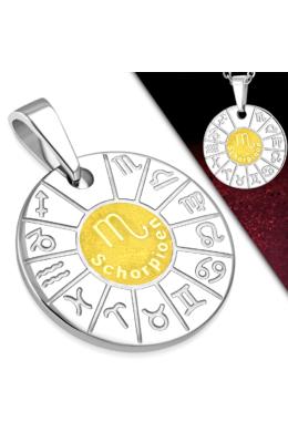 Ezüst és arany színű, kör alakú skorpió horoszkóp nemesacél medál