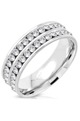 Ezüst színű nemesacél gyűrű ékszer, dupla sorban elhelyezett cirkónia kristályokkal-10
