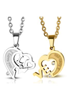 """"""" I love you"""" Arany-ezüst színű szív alakú páros nemesacél medál cirkónia kővel"""
