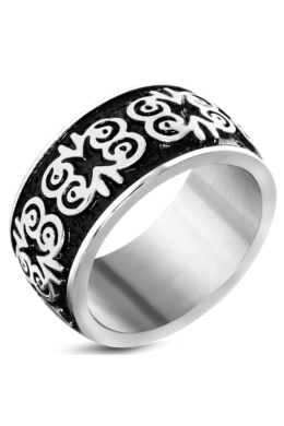 Fekete és ezüst színű, pillangó mintás motoros nemesacél gyűrű-7,5