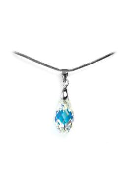 Swarovski® kristályos nemesacél nyaklánc - 17 mm - Briolett - Crystal AB