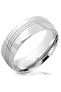 Ocean - Ezüst színű, fényes felületű, hullám mintás nemesacél gyűrű ékszer-11