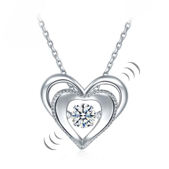 """Ezüst nyaklánc,dupla szíves alakú """"táncoló"""" szintetikus gyémánt medállal - 925 ezüst ékszer"""