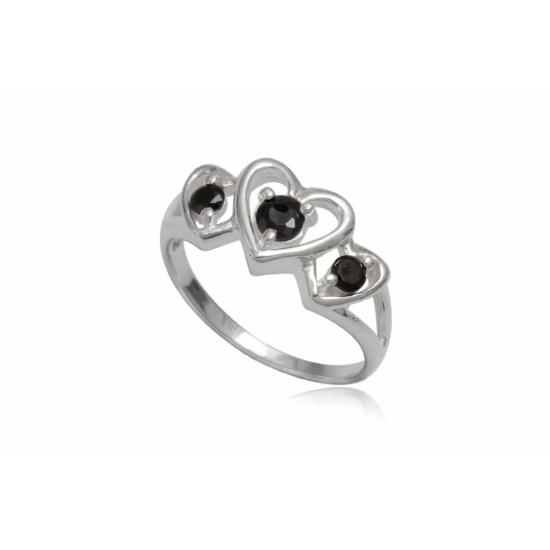 Ezüst gyűrű fekete cirkónia kristállyal