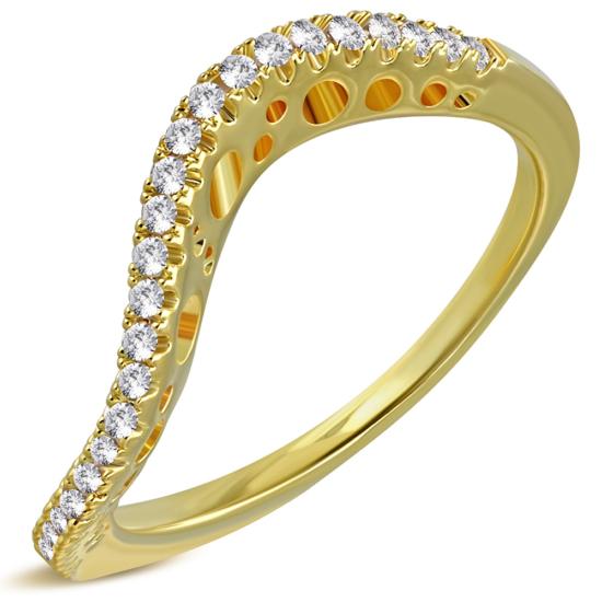 Arany színű, hullám alakú gyűrű, cirkónia kristállyal-7,5