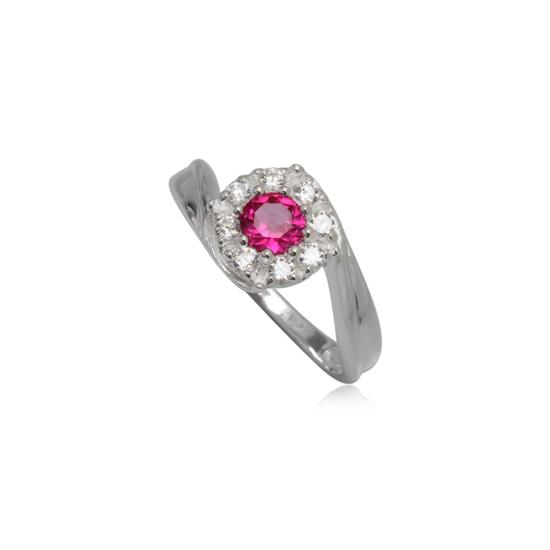 Ezüst gyűrű pink és fehér cirkónia kristállyal-9
