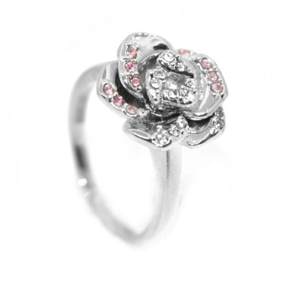 Rózsás Swarovski kristályos gyűrű, ezüst színű