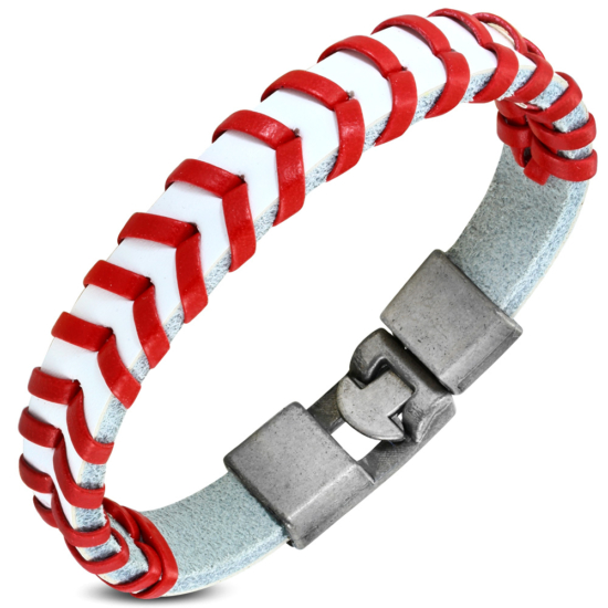 Piros - fehér színű fonott bőr karkötő