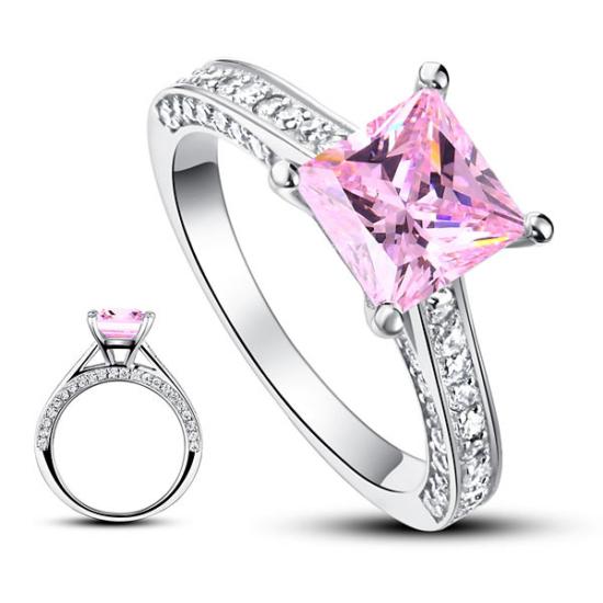 925 ezüst gyűrű négyzet alakú lila gyémánttal