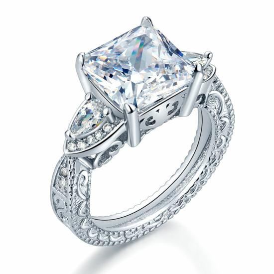 Ezüst gyűrű szintetikus gyémánt kővel-8