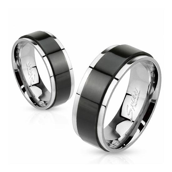 8 mm - Fekete csíkos nemesacél karikagyűrű-12
