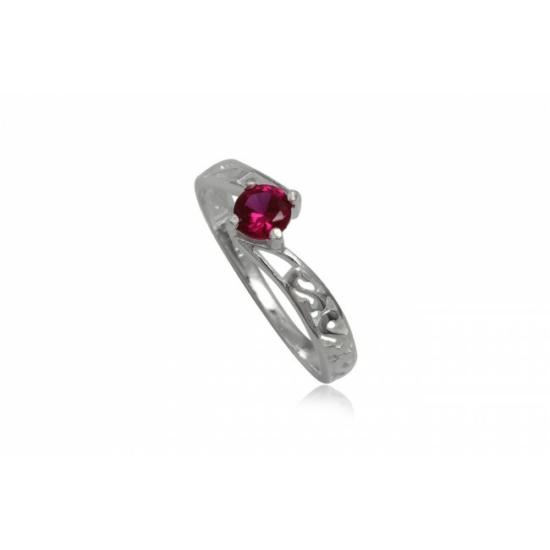 Ezüst gyűrű pink cirkónia kristállyal-9