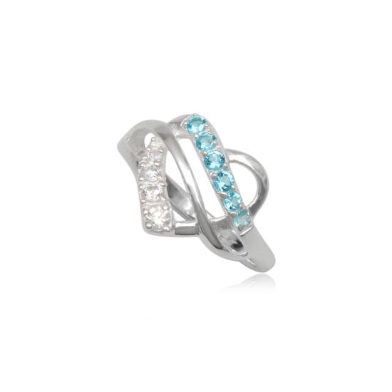 Szív alakú ezüst gyűrű világoskék cirkónia kristállyal