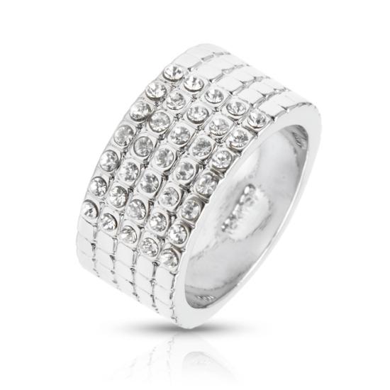 Swarovski kristályos Ezüst színű széles gyűrű-8