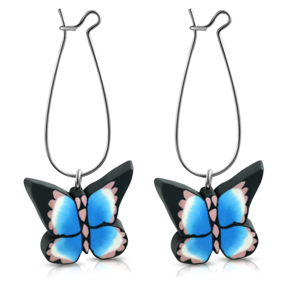 Kék pillangós bizsu fülbevaló