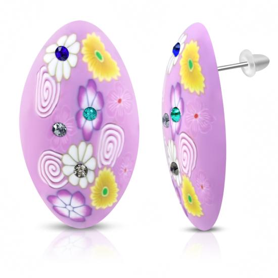Ovális formájú színes bizsu fülbevaló