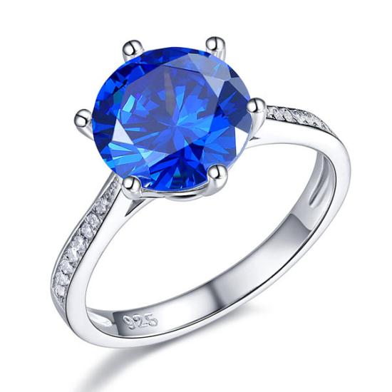 Ezüst kék gyémánt gyűrű