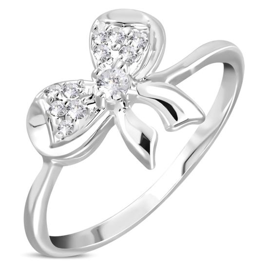 Ezüst színű, masni alakú gyűrű, cirkónia kristállyal