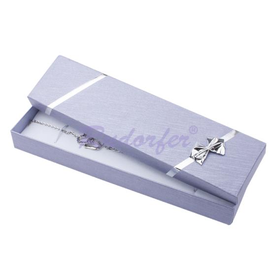 Lila színű, elegáns, masnis ékszertartó doboz nyaklánc, karlánc - II. osztályú termék