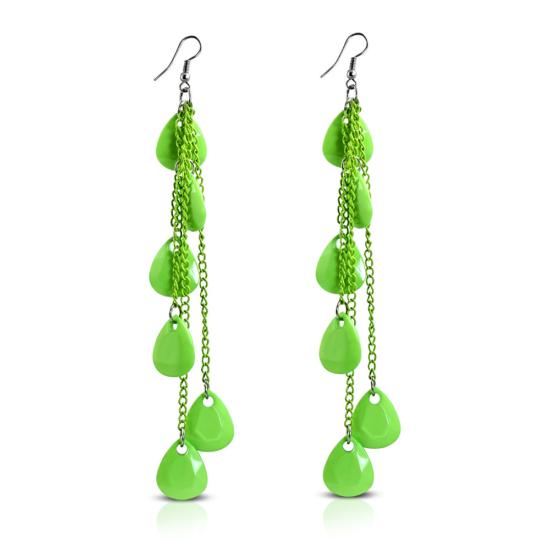 Divatos hosszú, zöld színű, csepp alakú fülbevaló