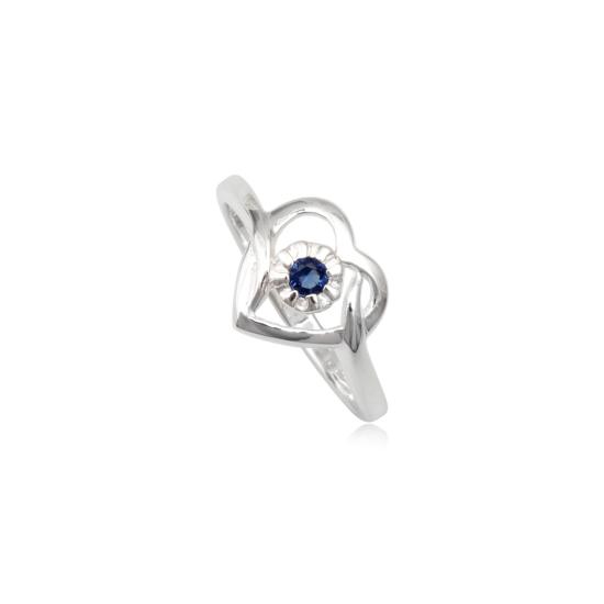 Szív alakú ezüst gyűrű kék cirkónia kristállyal-8
