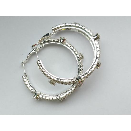 Ezüst színű, dupla soros karika fülbevaló, cirkónia kristállyal