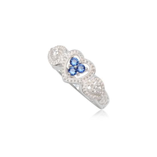 Szív alakú ezüst gyűrű sötét kék cirkónia kristállyal-9
