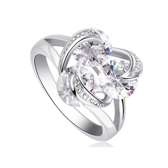 Swarovski három kristályos  köves gyűrű-7