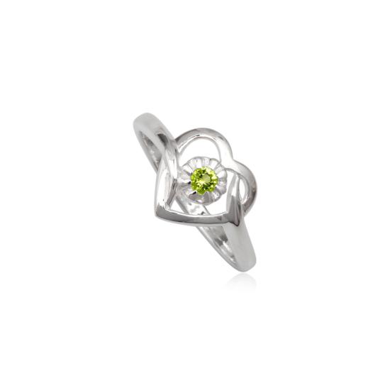 Szív alakú ezüst gyűrű zöld cirkónia kristállyal
