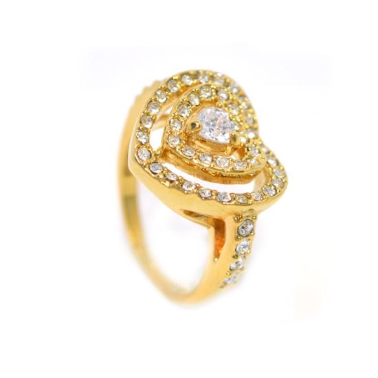 Szíves Swarovski kristályos gyűrű, arany színű