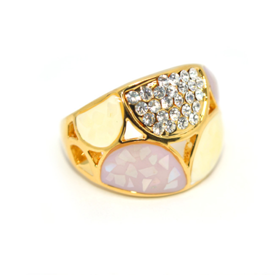 Swarovski kristályos dizájner gyűrű, arany színű-7