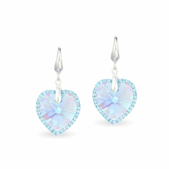 Swarovski® kristályos ezüst fülbevaló - LA MARIA Heart Kék