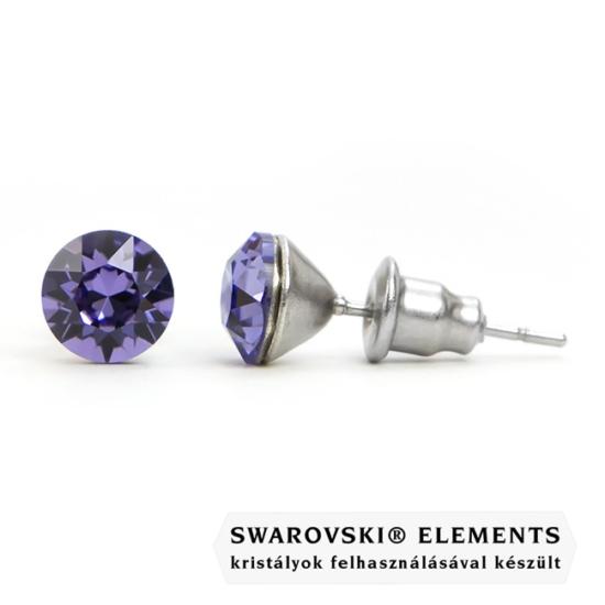925 ezüst fülbevaló ékszer Swarovski® kristállyal - Tanzanite