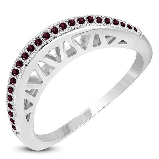 Ezüst színű, hullám alakú gyűrű, cirkónia kristállyal-7