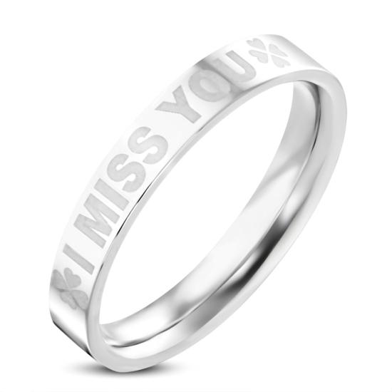 Ezüst színű nemesacél gyűrű,-I MISS YOU-felirattal