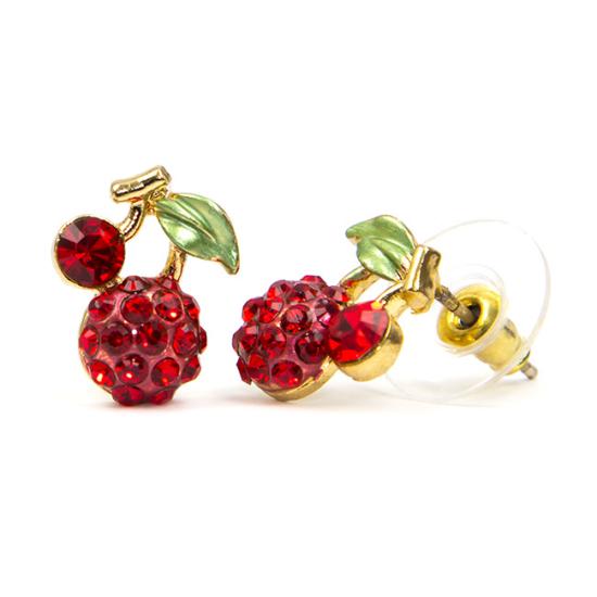 Swarovski kristályos piros cseresznye formájú fülbevaló